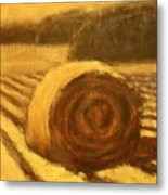 Morning Haybale Metal Print