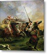 Moroccan Horsemen In Military Action Metal Print by Ferdinand Victor Eugene Delacroix