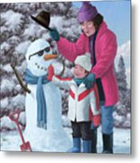 Mother And Child Building Snowman Metal Print