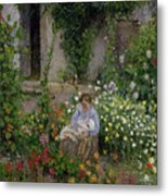 Mother And Child In The Flowers Metal Print