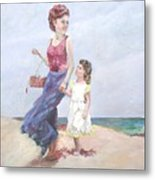 Mother And Daughter At The  Beach Metal Print