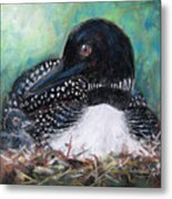 Mother Nature And The Loon Metal Print