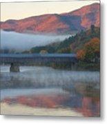 Mount Ascutney And Windsor Cornish Bridge Sunrise Fog Metal Print by John Burk