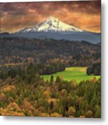 Mount Hood At Sandy River Valley In Fall Metal Print