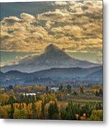 Mount Hood Over Farmland In Hood River In Fall Metal Print