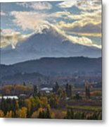 Mount Hood Over Hood River Valley In Fall Metal Print