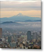 Mount Hood Over Portland Downtown Cityscape Metal Print