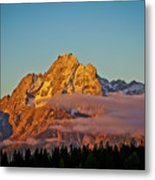 Mount Moran Bathed In Sun Metal Print