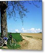 Mountain Bike Under A Tree Beside Dirt Road Metal Print