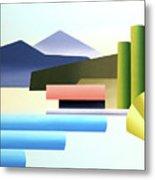Mountain Lake Dock Abstract Acrylic Painting Metal Print
