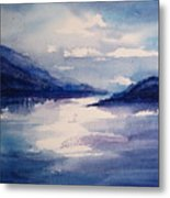 Mountain Lake In Blue Metal Print