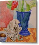 Mountain Lion Skull Tea And Tulips Metal Print