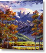 Mountain River Valley Metal Print by David Lloyd Glover