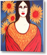 Mujer Con Flores Metal Print