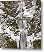 Multnomah Falls Winter Metal Print