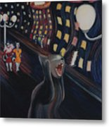 Munch's Cat--the Scream Metal Print by Eve Riser Roberts