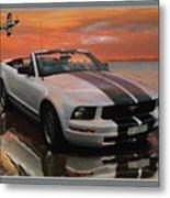 Mustang And Mustang At The Beach Metal Print