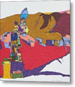 Mustang Tibetan Hawk And Prayer Flags Metal Print