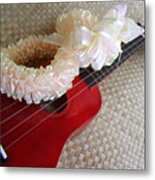 My Little Red Ukulele Metal Print