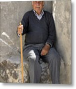 Mykonos Man With Walking Stick Metal Print