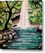 Mystical Waterfall Metal Print