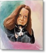 Nandi And Her Cat Metal Print by Charles Hetenyi