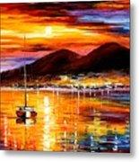 Naples - Sunset Above Vesuvius Metal Print