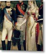 Napoleon Bonaparte Receiving Queen Louisa Of Prussia Metal Print