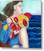 Natasha By The Sea Metal Print by Pilar  Martinez-Byrne