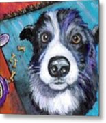 Naughty Border Collie Metal Print by Dottie Dracos