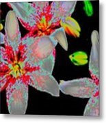 Neon Lilies Metal Print