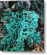 Netting And The Sea Metal Print