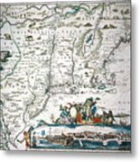 New Netherland Map Metal Print