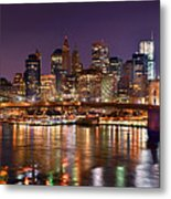 New York City Brooklyn Bridge And Lower Manhattan At Night Nyc Metal Print