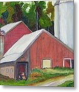 New York State Farm With Silos Metal Print