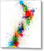 New Zealand Paint Splashes Map Metal Print