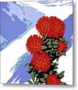 New Zealand Rata Blossom Vintage Travel Poster Metal Print