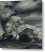 Night Barn Metal Print