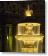 Night View Of A Fountain Outside Saint Metal Print