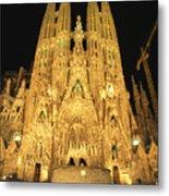 Night View Of Antoni Gaudis La Sagrada Metal Print