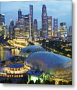Night View Of The Esplanade And Central Metal Print