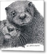 North American River Otters Metal Print