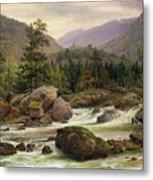 Norwegian Waterfall Metal Print by Thomas Fearnley
