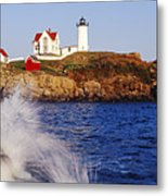 Nubble Lighthouse In Daylight Metal Print by Jeremy Woodhouse