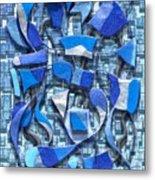 Oars And Rudders - Blue Metal Print