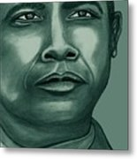 Obama In Bronze Metal Print