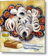 Octupus And Sea Urchins Dinner Metal Print