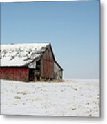 Old Barn And Snowy Prairie Metal Print