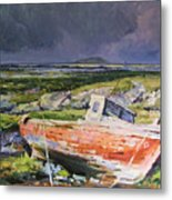 Old Boat On Shore Metal Print