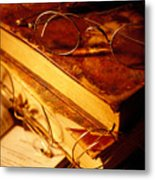 Old Books And Glasses Metal Print